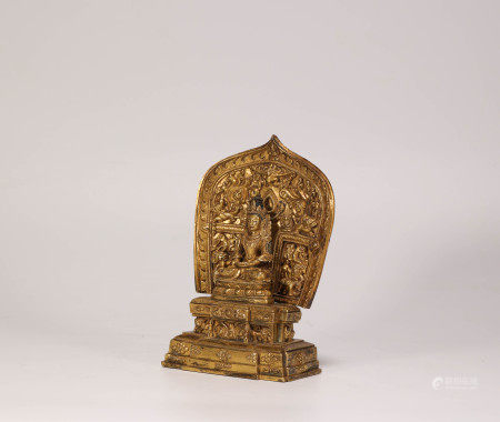 Gilded Bronze Bddha from Qing Dynasty清代銅鎏金釋迦摩尼 坐像