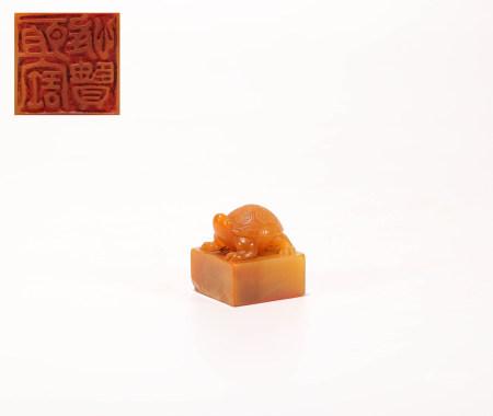 Turtle Seal of Shoushan Tian HuangStone in Qing Dynasty清代壽山田黄石 龜型印章