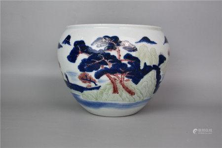 Qing Dynasty-Three-color Carved Porcelain Cylinder under Glaze