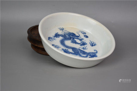Kangxi of the Qing Dynasty-Blue and White Cloud Dragon Brush Wash