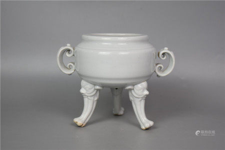 Ming Dynasty--Sweet white glazed three beast-foot and double-ear incense burner