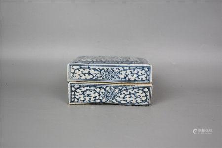 Qing Jiaqing--Square blue and white lotus ink pad