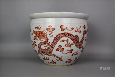 Middle and late Qing Dynasty--Aluminum red cylinder with gold and cloud dragon pattern