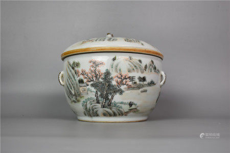 Republic of China-Shallow Colored Landscape Porridge Pot