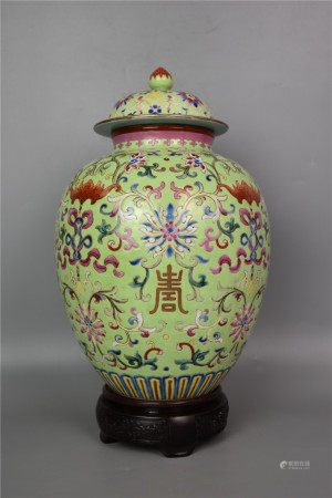 Qing Jiaqing--Greenland famille rose gold pot with entwined lotus and longevity pattern