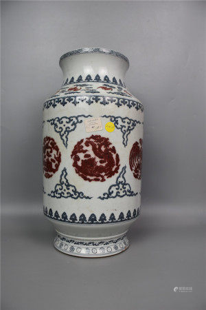 Mid Qing Dynasty--Blue and White Glazed Lantern Vase with Red Tufted Dragon Pattern