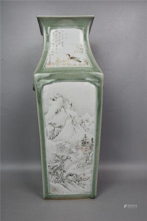 Guangxu, Qing Dynasty-Bean Celadon-glazed Shallow Falling Color Auxu Shouer Landscape and Ancient Pattern Square Vase