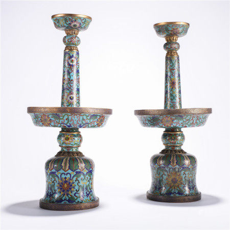 Qing Dynasty Cloisonne Candlestick