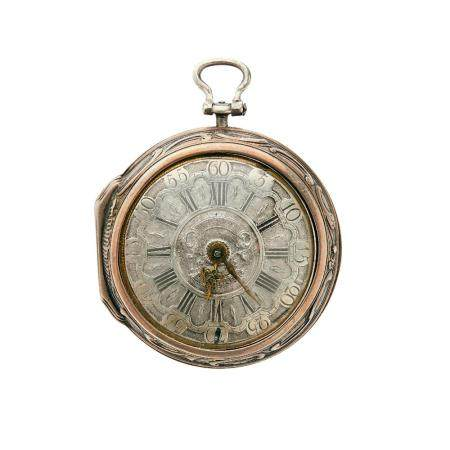 """VILTER, LONDON DEBUT XVIIIe SIECLE An """"oignon"""" pocket watch with two silver cases by Vilter London, from the early 18th century."""