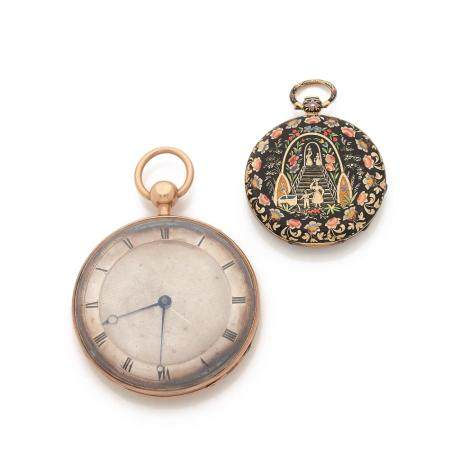 ENSEMBLE DE 2 MONTRES DE POCHE XIXe SIECLE A lot of two gold 18K pocket watches from the 19th century. One is a repeater and signed...