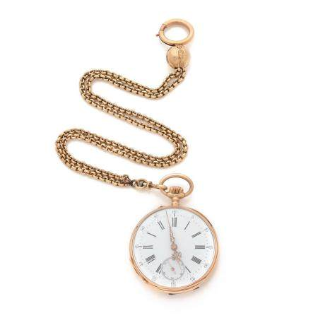 ANONYME FIN XIXe SIECLE A gold 18K pocket watch with its chain.
