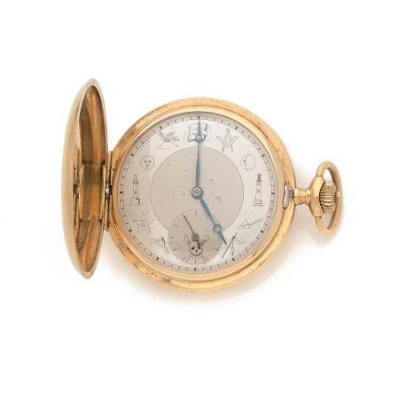 INVAR VERS 1910 A gold 18K pocket watch by Invar, circa 1910.