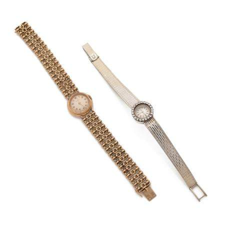 OMEGA ET CYMA A lot of two gold 18K lady's watches.