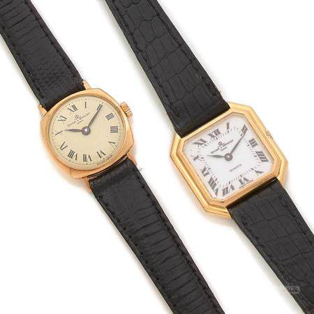 BAUME & MERCIER LOT COMPOSE DE 2 MONTRES DE DAME A lot of two lady's watch in 18K gold, one manual winding and one quartz movement,...