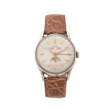 OMEGA ANNEES 1950 A stainless steel manual winding wristwatch by Omega, from the 50's.