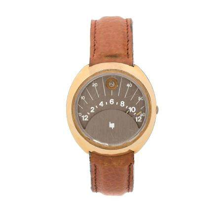 LIP SECTEUR RETROGRADE A gold metal and stainless steel self winding wristwatch by Lip, from the 70's.