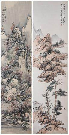 Tao Yun (1911-2004), Luo Dangu (1873-?) Two Landscapes (2)