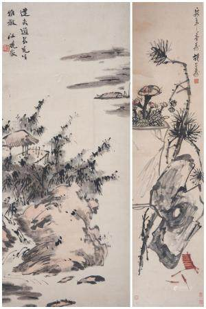 Jiang Fanzhong (1895-1971) and Hu Gongshou (1823-1886) Landscape and Flower Arrangement (2)