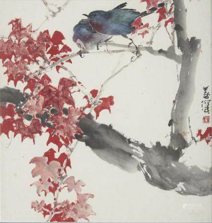 Yang Shanshen (1913-2004) Birds amongst Autumn Leaves