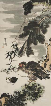 Attributed to Pan Tianshou (1897-1971) Chickens and Bamboo