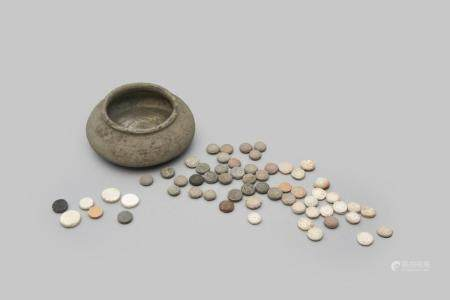 A pottery weiqi bowl, guan, and 60 weiqi stones Song dynasty (61)