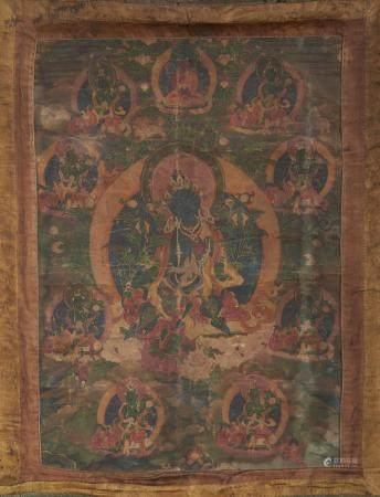 A thangka of Green Tara Tibet, 18th century