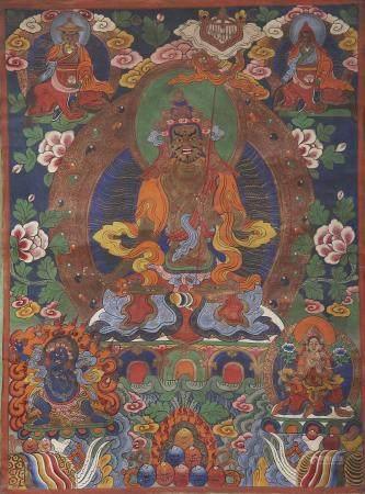 A thangka of Wrathful Padmasambhava Mid-20th century