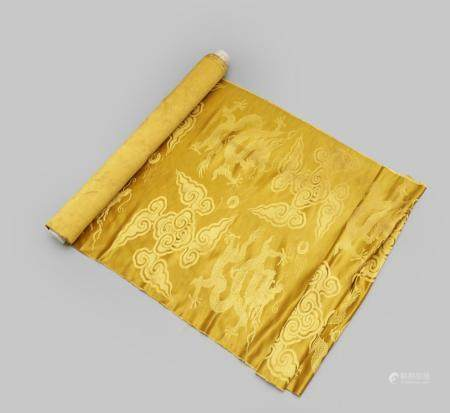 A bolt of yellow ground silk brocade fabric Late Qing or Republic period