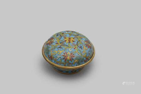 A cloisonne 'scrolling lotus' incense box Qianlong four-character mark, and an inventory mark, gui