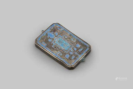 An enamelled silver 'abstinence' plaque Qing dynasty