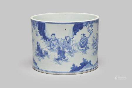 A blue-and-white 'Seven Sages of the Bamboo Grove' brush pot