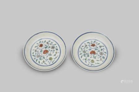 A pair of doucai plate Guangxu six-character mark (2)