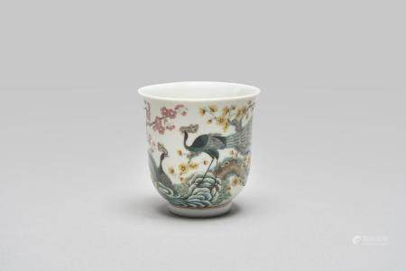 A 'peacock and plum blossom' wine cup Guangxu iron-red six-character mark
