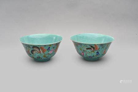A pair of tuiquoise-ground 'butterfly' bowls Jiaqing iron-red six-character mark