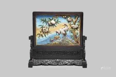 A cloisonné 'peach and crane' screen