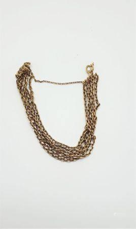Bracelet en or 18k (75O millièmes) formé de 6 rangs de chaîne maille forçat. Poids : 21,7 g