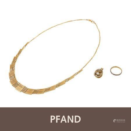 PFANDAUKTION - 1 Collier, 1 Ring, 1 Anhänger mit Brill.