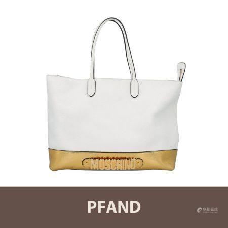 PFANDAUKTION - 1 MOSCHINO Shopper Tasche, Weiß /Goldfarben