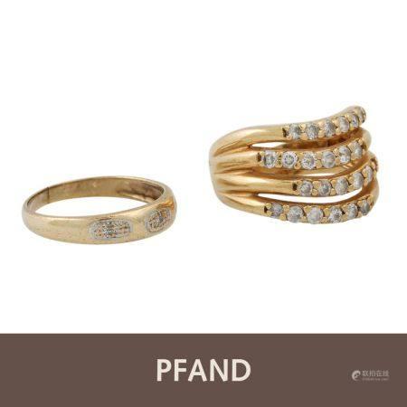 PFANDAUKTION - 1 Ring mit weissen Steinen (3 davon beschäd.)