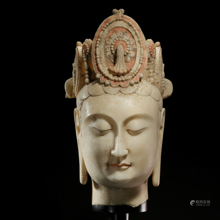 THE NORTHERN QI DYNASTY, CHINESE WHITE JADE CARVED GUANYIN BUDDHA HEAD