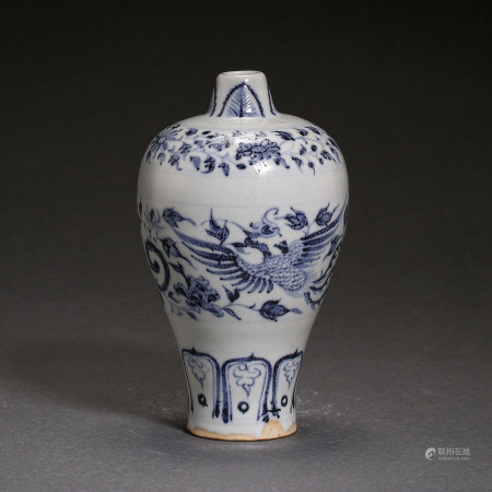 YUAN DYNASTY, CHINESE BLUE AND WHITE PORCELAIN PLUM VASE