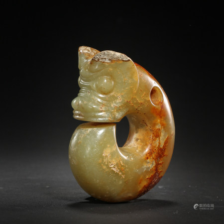 CHINESE RED MOUNTAIN CULTURE HEMO JADE PIG DRAGON
