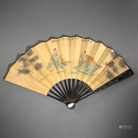 OLD CHINESE PAINTING AND CALLIGRAPHY FAN