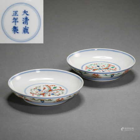 QING DYNASTY, A PAIR OF CHINESE YONGZHENG DOUCAI PORCELAIN PLATES
