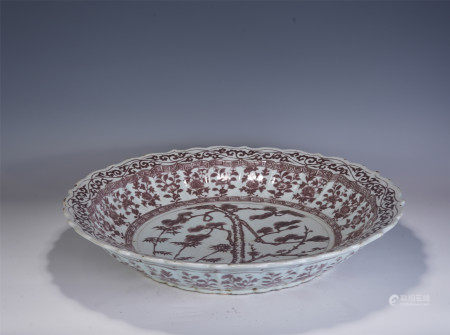 A CHINESSE UNDERGLAZE RED PORCELAIN PLATE