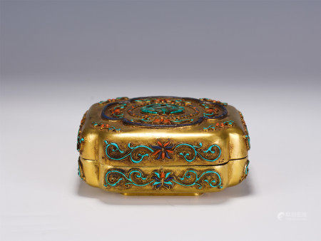 A CHINESE GEMS INLAID GILT BRONZE BOX WITH COVER