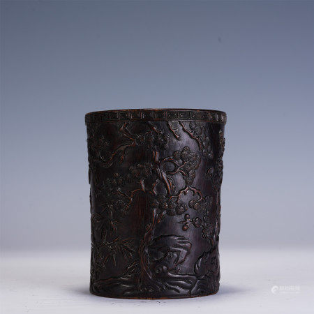A CHINESE CARVED ZI-TAN WOOD BRUSH POT
