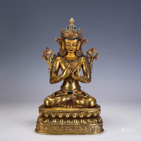A CHINESE GILT BRONZE FIGURE OF BUDDHA
