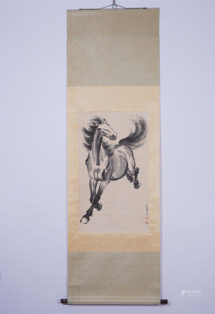 A CHINESE HANGING SCROLL PAINTING OF HORSE