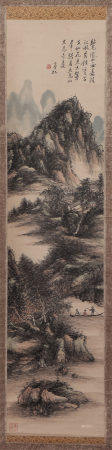 A CHINESE PAINTING OF LANDSCAPE AND FIGURES